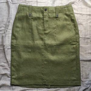 J. CREW Army Green Pencil-Skirt